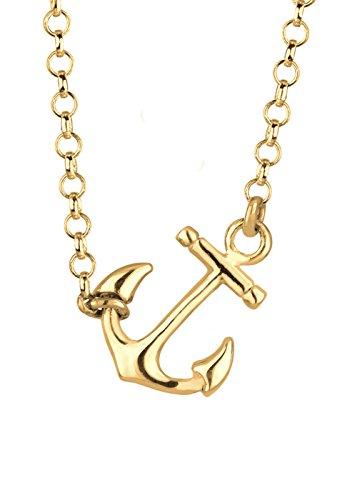 Elli Damen Halskette Anker 925 Sterling Silber Vergoldet Länge 45 cm Preisvergleich