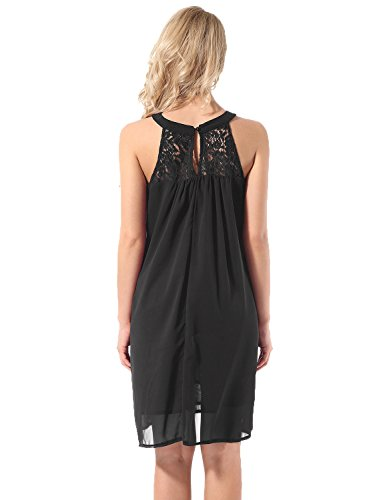 Hownew-X Women Sleeveless Summer Dress Lace Chiffon A-Line Casual Sexy Sundress Dresses S Black