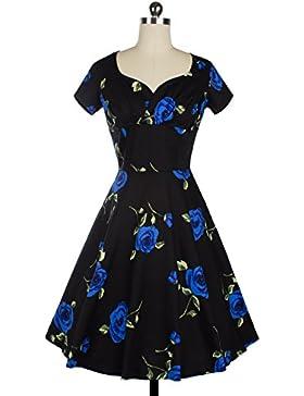 Vestidos Los de mujeres con cuello en V Mid-Waist Short-Sleeve imprimir una línea falda