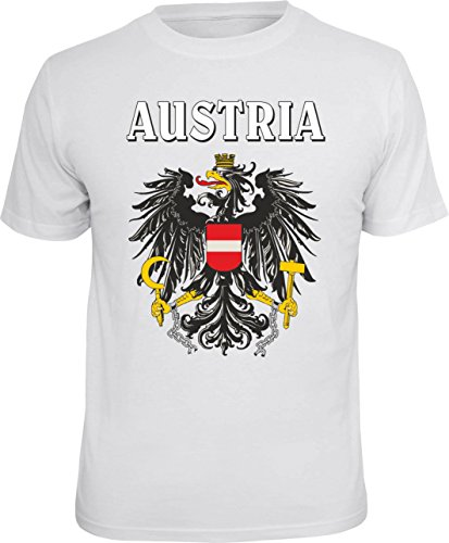 Mega Cooles T-Shirt mit Aufdruck: Austria - Ideales Andenken, Mitbringsel und Geschenk (Weiss, XL)