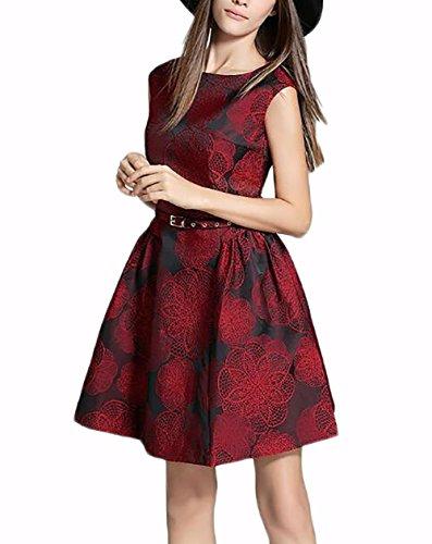 Damenbekleidung Kleid Frühling und Sommer neue Mode Jacquard Retro Weste Kleid wine red (Mode Red Flapper Kleid)