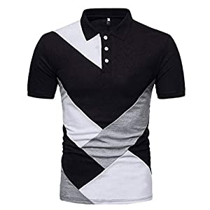 feiXIANG Herren Bluse dünne beiläufige Patchwork T-Shirt männer Kurzarm Sport Slim Fit Tops Sommer