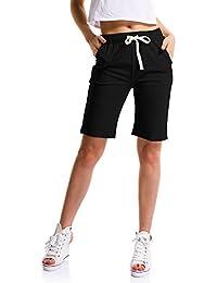 OCHENTA Femme Short Loose Bermuda Casual Eté Confortable Cordon de serrage Elastique