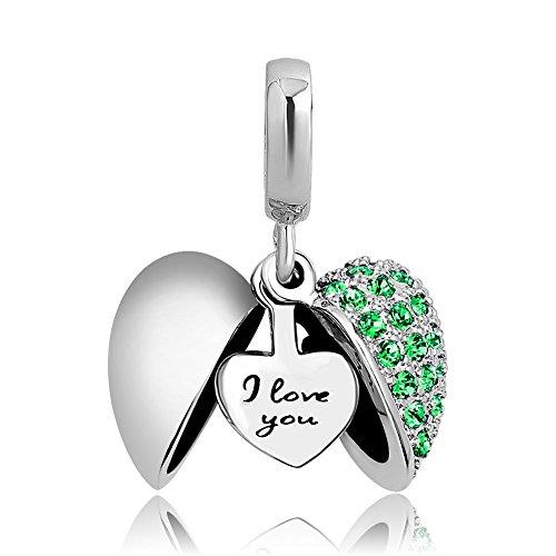 """Uniqueen jewellery - pendente per braccialetto, con cuore e scritta """"i love you"""" e rame, colore: green, cod. uq_dpc_fa450"""