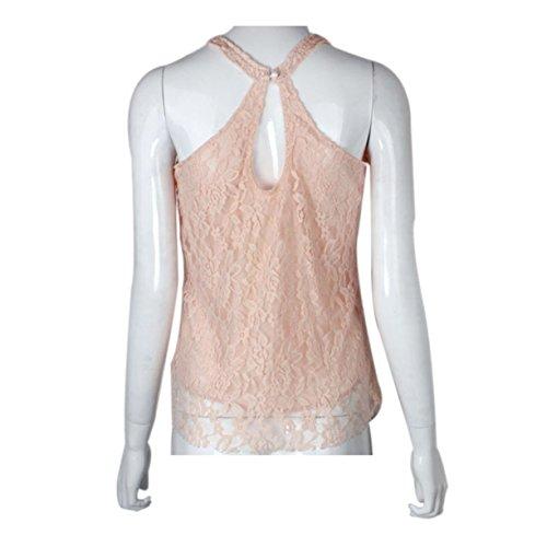 Vest Dentelle, Reaso Femmes T-shirt sans manches Sexy Summer ample Top Blouse Rose
