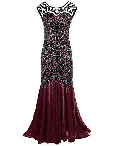 kayamiya Damen 1920er Jahre Perlen Pailletten Floral Maxi Lange Gatsby Flapper Abendkleid 46-48...