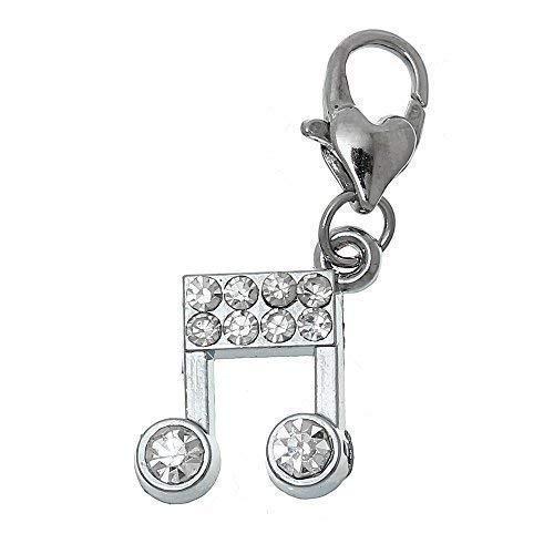 Bacabella Damen Strass Charm Anhänger aus Metalllegierung Musik Noten 35x13mm Silber für Bettelarmband mit Karabiner Zum Anbringen (Musik Note Bettelarmband)