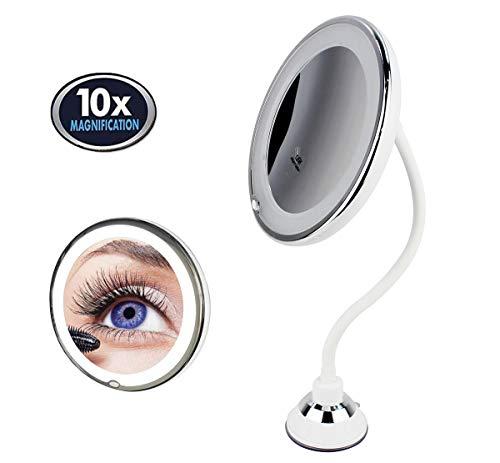 Espejo de Maquillaje de Cuello de Cisne Redondo con Luz LED, Aumento 10X, con Ventosa de Sujeción...