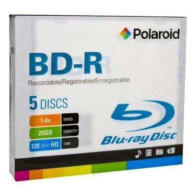 Polaroid PRBRAYR005J BD-R 25GB 120-Minuten 4X Recordable Blu-Ray Disc, 5er Pack Slim Case Polaroid Dvd-batterie
