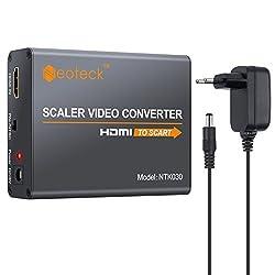 Neoteck HDMI auf SCART Konverter 1080P HDMI zu SCART Adapter HDMI Eingang SCART Ausgang Composite Video HD Stereo Audio Adapter mit EU Netzteil für TV DVD Sky HD Blu Ray DVD Apple PS3