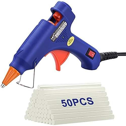 goma eva kawaii TOPELEK Mini Pistola de Silicona Caliente con 50 psc Barras de Pegamento Alta Temperatura, Kit de Pistolas de Encolar para Manualidades Artesanía de Bricolaje Reparaciones Rápidas (20 Vatios,Azul)