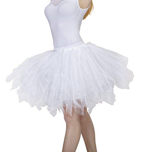 Dancina Damen Petticoat 50er Jahre Vintage Tutu Tüllrock [Sticker XXL] Weiß Gr. 42-46