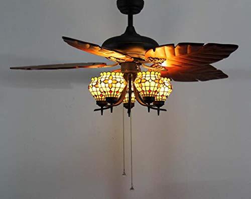 Vintage Tiffany-Stil Deckenventilator Light Kit, Glasmalerei Schatten Kochbananenblatt 5-Kopf-Fan Pendelleuchte für Villa Coffee Restaurant Bar Decor Leuchten