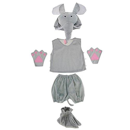 Homyl 1 Juego Traje de Disfraz de Elefante Niños Unisexo Entretenimiento Gorra Camisa Pantalones Cortos Guantes de Fiesta Lindo Espectáculo