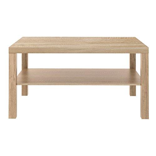 Furniture 247 Table basse rectangulaire avec étagère de rangement - Chêne naturel
