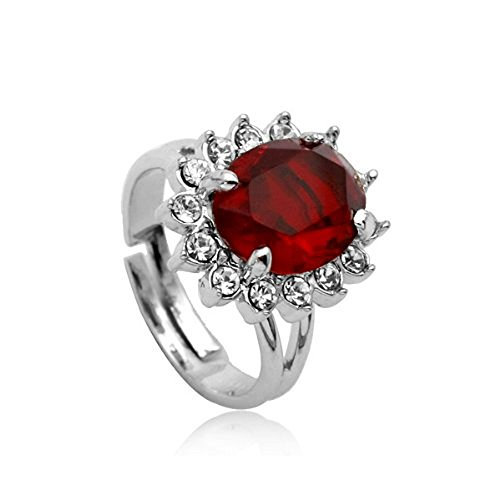 18ct White Gold Finish Ring with Ruby Swarovski Elements, used for sale  Delivered anywhere in UK