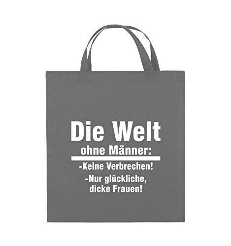 Comedy Bags - Die Welt ohne Männer - keine Verbrechen nur dicke Frauen - Jutebeutel - kurze Henkel - 38x42cm - Farbe: Schwarz / Pink Dunkelgrau / Weiss