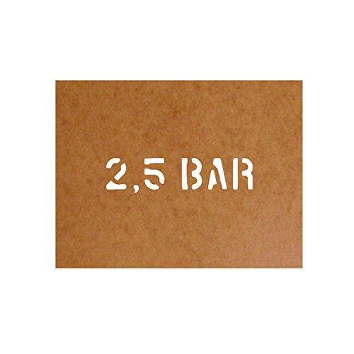 Preisvergleich Produktbild 2,5 Bar Stencil Bundeswehr Militär US Army Kraftstoff passend für Mercedes-Benz Unimog S 404 B für Lackierung (2,5x11cm) - Ölkarton Lackierschablone #15108