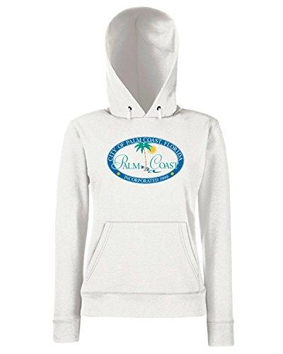 T-Shirtshock - Sweats a capuche Femme TM0179 City of Palm Coast Florida flag Blanc