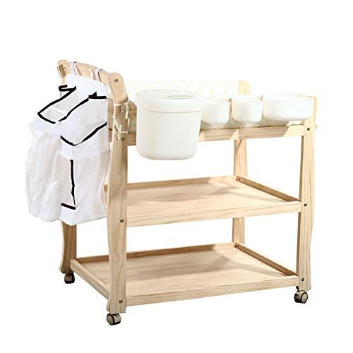 Table à Langer en Bois sur Roues, Organisateur De Pépinière De Stockage Portable, Commode avec Panneau Imperméable