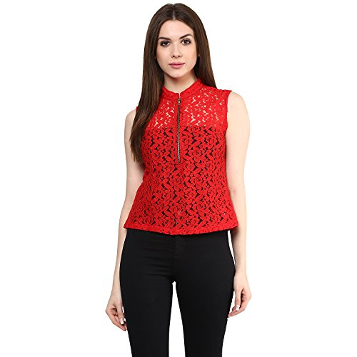 Mayra Women's Party Wear Net Top (1608T08480_M, Red)