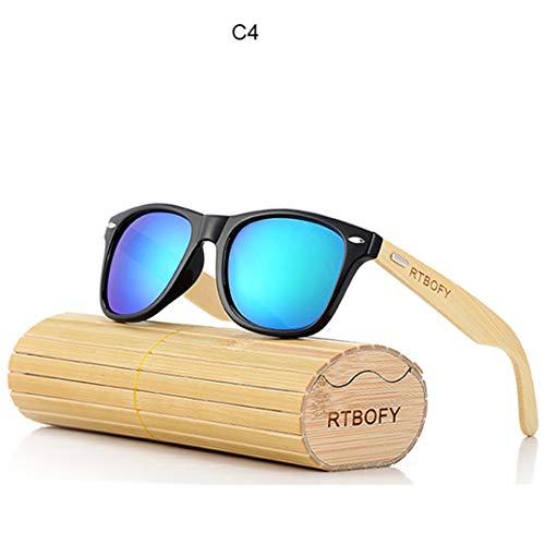 DAIYSNAFDN Retro Bambus Holz Sonnenbrille Männer Frauen Designer Brille Gold Spiegel Uv400 Eyewear C4