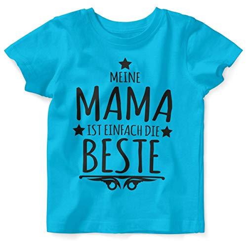 Mikalino Baby/Kinder T-Shirt mit Spruch für Jungen Mädchen Unisex Kurzarm Meine Mama ist einfach die Beste | handbedruckt in Deutschland | Handmade with Love, Farbe:Atoll, Grösse:92/98