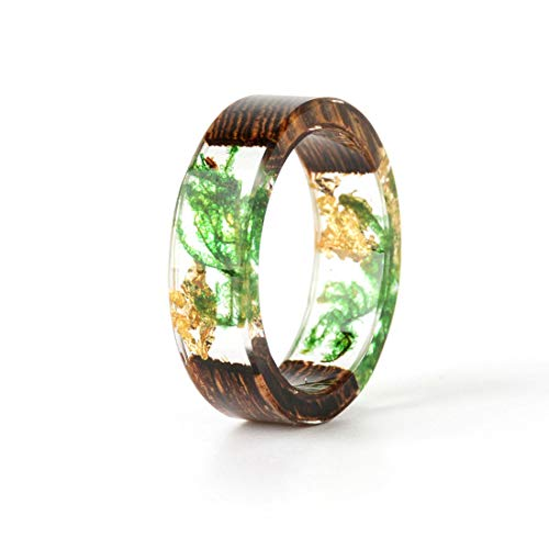 DALARAN Handgemachte getrocknete Blume Harz Ring Holz Band 65 (20.7)