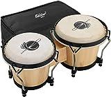 Eastar EBO-1 Bongo Trommel 6 Zoll/15.24 CM und 7 Zoll/17.78 CM Percussion Holzbongo mit Tasche, Natur