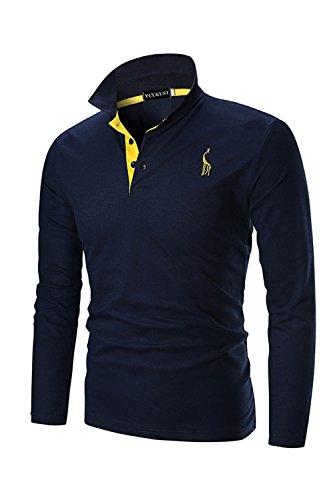 Ycheng Mode Polo Homme Manches longues Casual Poloshirt T-shirt -Bleu-Medium