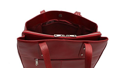 Pelle Visconti italiana Vintage Collection SOFIA A4 lavoro Bag ITL80 scuro Tan Red