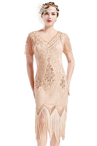 ArtiDeco 1920s Kleid Damen Flapper Kleid mit Kurzem Ärmel Gatsby Motto Party Damen Kostüm Kleid (Aprikose, L) -