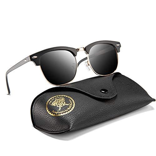 Rocf Rossini sonnenbrille polarisiert herren damen Retro Vintage klassisch Halber Rahmen Männer Frauen Anti Reflexion UV400 (Sand-Schwarz/Grau)