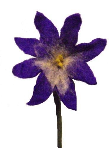 Schöne handgemachte Filz-Blume lila Chrysantheme , ideal für schöne Interieur - flexible Stiele - mittlere Größe - Blume 17 cm im Durchmesser, 34 cm lang Stammzellen - Fairtrade aus unserem schönen Felters in Kathmandu , Nepal. (Interieur Farbstoff)