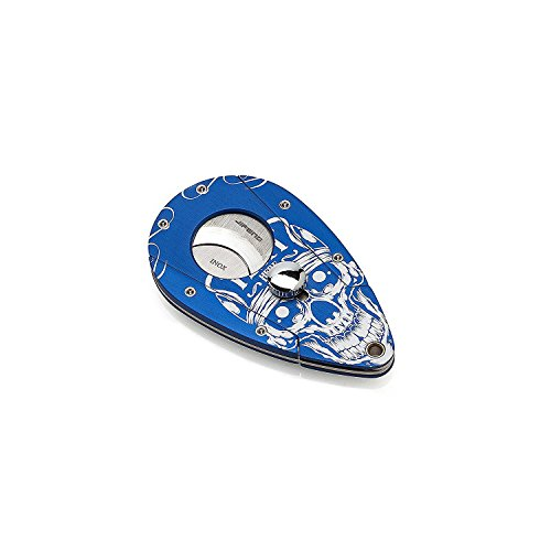 JIFENG® - All Duty Metal Construction Painted Skull in Blue Ground Cigar Cutter/Scissor with 2 Blades