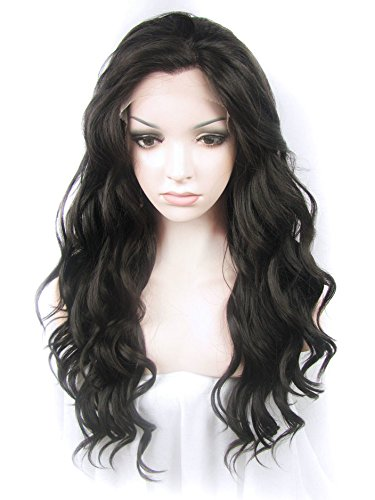 Preisvergleich Produktbild Imstyle Long Water Wavy Texture Dark Brown Color Long Body Wavy Synthetic Lace Front Wig by IMSTYLE
