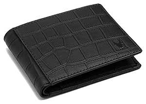 WildHorn® 100% Genuine High Quality Mens Leather Wallet (Black Croco)