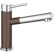 BLANCO ALTA-S Compact Küchenarmatur / Kompakter Einhebelmischer SILGRANIT-Look in Cafe-Chrom mit ausziehbarer Schlauchbrause / Hochdruck