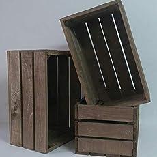 rebajas ofertas Pack 3 cajas madera tono envejecido 50x30x25 cm ideal para.