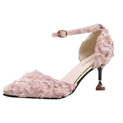 iYmitz Elegant High Heels Stiletto Schuhe Damen Spitz Wildleder Wilde Einzelne Schuhe Stilett Hohl Weiblich Sandalen(Rosa,EU 37)