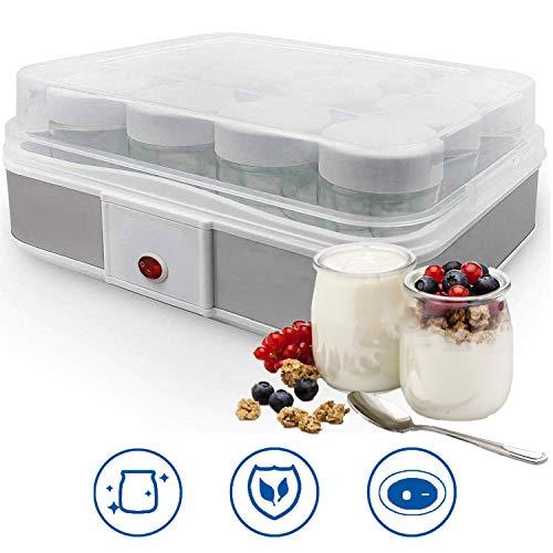 Sotech - Joghurtmaschine,Joghurtbereiter,Joghurt Hersteller,Frischkäsebereiter,joghurtbereiter mit gläsern,12 Glas, 30,6 x 25 x 12,4 cm, Weiß, Kapazität pro Glas: 0,21 L, Watt: 21,5 W