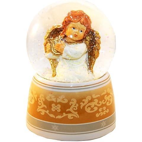 20037 Bola de nieve navidad ángel con musica medida 140 mm