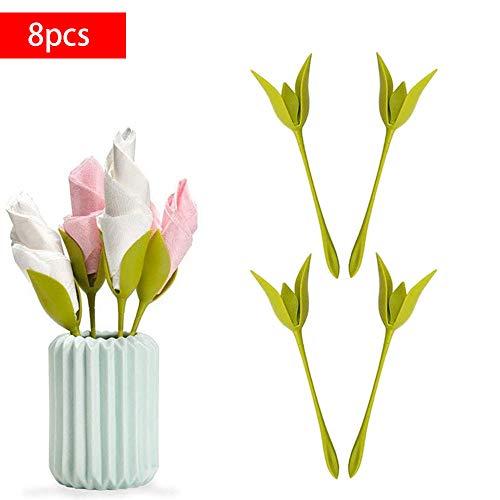 Covok Bloom Handtuchhalter | Handtuchhalter Stilvoller und kreativer grüner Handtuchhalter aus Kunststoff Handtuchhalter | Dekorieren von Tisch-Handtuchhaltern | 8 Stück | Mintgrün -