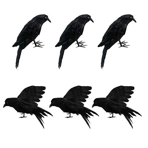 LOVIVER 6pcs Rabe Krähe Vögel Figuren Mit Schwarzen Federn, Gothic Dekor Für