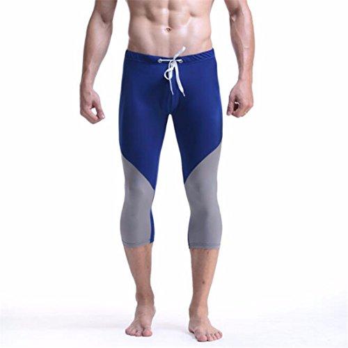 Men's Fashion Patchwork Knee Length Casual Shorts Deep Blue