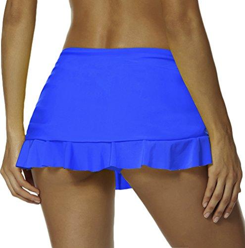 OLIPHEE Damen Bikinirock mit Rüschen Baderock mit integrierter innenslip Elastische Taille Strand Rock Knallblau