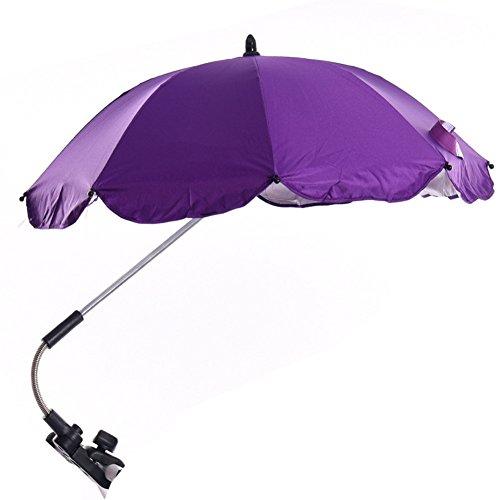 Katech ombrello staccabile regolabile per passeggino da bambino, parasole, con raccordo girevole e staffa portaombrelli