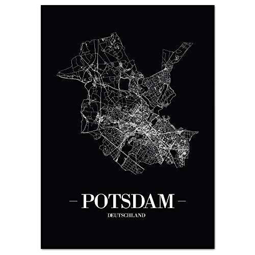 JUNIWORDS Stadtposter - Wähle Deine Stadt - Potsdam - 21 x 30 cm - Schrift A - Schwarz