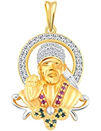 Vighnaharta Shirdi Ke Sai Baba CZ Gold And Rhodium Plated Alloy Pendant For Men And Boys - [VFJ1070PG]