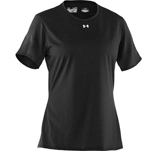 Under Armour Locker Leicht Kurzarm-Shirt der Frau, Damen, schwarz / weiß (Kurzarm-jersey Armour Under)